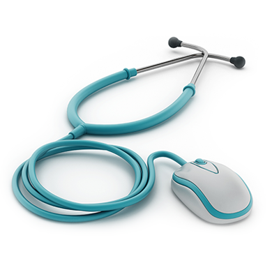 Graphic of a stethoscope combned with a computer mouse