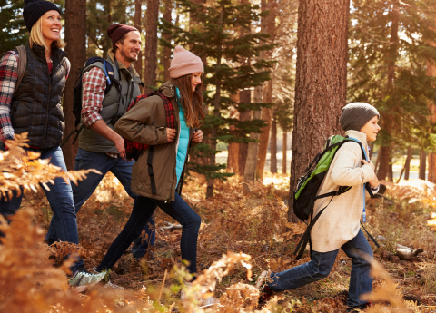 Image of a family hiking through the woods