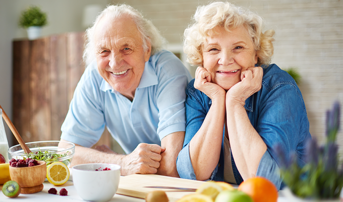 Photo of a senior couple in the kitchen